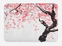 Ambesonne Floral Bath Mat by, Japanese Cherry Tree Blossom i