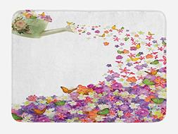 Ambesonne Floral Bath Mat by, Butterflies Narcissus Flowers