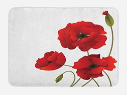 Ambesonne Floral Bath Mat by, Poppy Flowers Vivid Petals wit