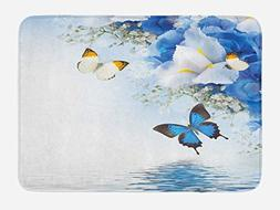 Ambesonne Floral Bath Mat by, Blue and White Wild Flowers wi