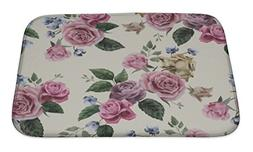Gear New Floral Pattern with Pink Roses Bath Rug Mat No Slip