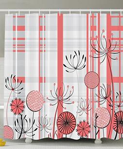 Flower Decor Shower Curtain by Ambesonne, Geometric Feature