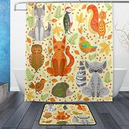 ALAZA Set of 2 Forest Animals 60 X 72 Inches Shower Curtain