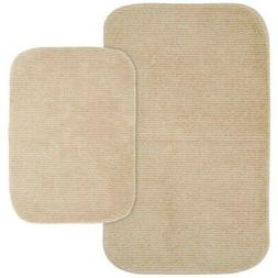 Glamour Linen Nylon Washable Bathroom Rug Set