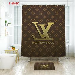 Good!!LouisVuitton Design Shower Curtain & Bath Mat Polyeste