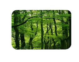 green tree forest bath mat