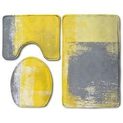 Hexu Grey And Yellow Abstract Art Painting Bathroom Rug 3 Pi