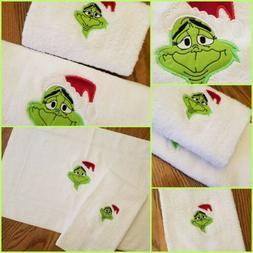 Grinch Bathroom Set Hand & Floor Bath Mat Style Towel Santa