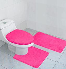 Hailey 3 Piece Bathroom Rug Set, Bath Mat, Contour Rug, Toil
