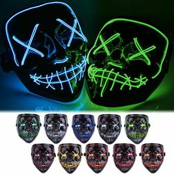 Halloween LED Glow Full Mask EL Wire Light Up The Purge Movi