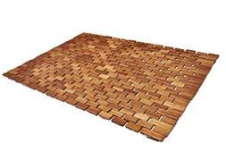 Soothing Styles Handcrafted Folding Teak Bath Mat with Non S