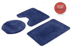 Homemusthaves 3 Piece Navy Bath Rug Set Solid Patchwork Patt