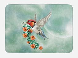 Ambesonne Hummingbird Bath Mat by, A Hummingbird Is Flying w
