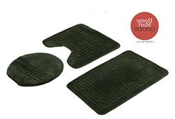 Homemusthaves 3 Piece Hunter Green Bath Rug Set Patchwork Pa