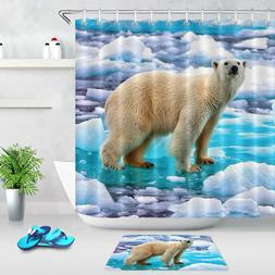 Ice Field White Polar Bear Polyester Fabric Shower Curtain S