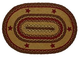 IHF India Country Primitive Braided Oval Jute Rug Cinnamon S