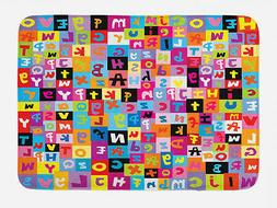 Kids Bath Mat Colored Alphabet Puzzle Non-Slip Plush Mat, 29