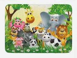 Kids Bath Mat Cute Animals Jungle Non-Slip Plush Mat, 29.5 X