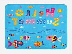 Kids Bath Mat Patchwork Style and Quote Non-Slip Plush Mat,