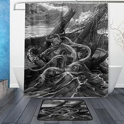 ALAZA Set of 2 kraken Octopus Black and White 60 X 72 Inches