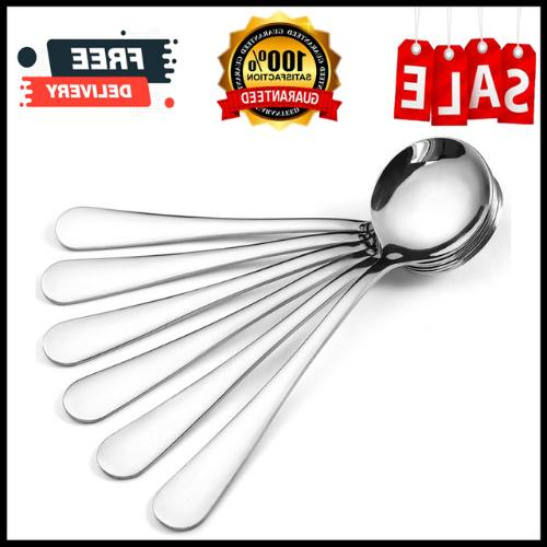12-Piece Soup Spoons, Round Stainless Steel Bouillon Spoons,