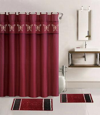 15PC BURGUNDY BUTTERFLY BATHROOM SET BATH MATS SHOWER CURTAI
