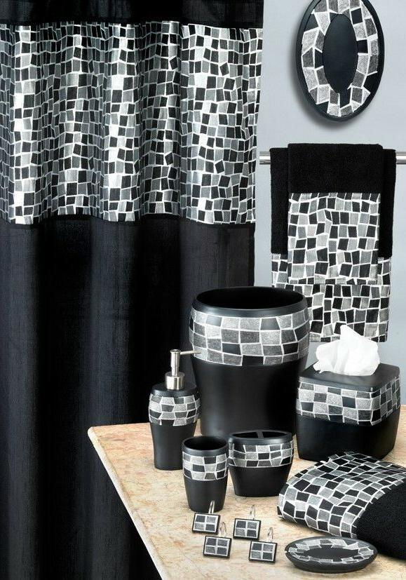 Luxury 19pc Bathroom Set Shower Curtain, Bathroom Sets With Shower Curtain And Rugs