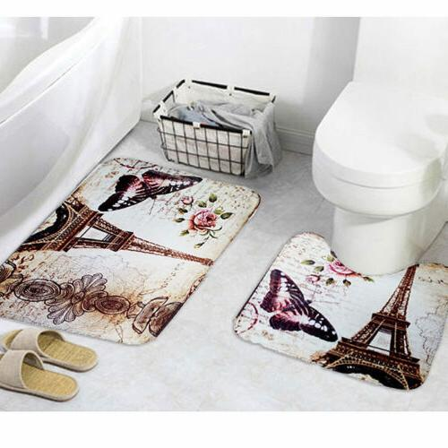 2Pcs/Set Paris Eiffel Tower Bathroom Pedestal Rug + Bath Non