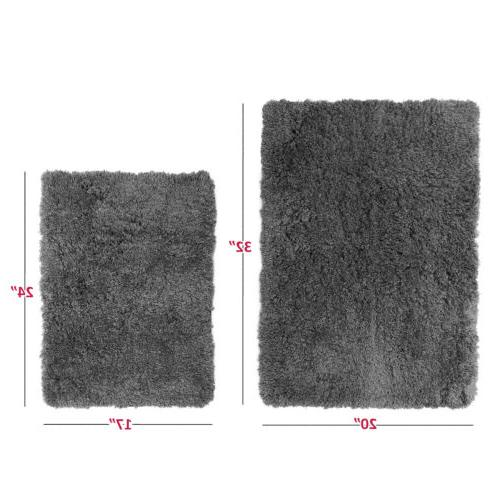2PC Shaggy Area Set with Backing Rubber Cozy Mat