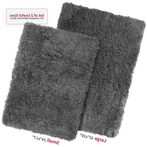 2pc shaggy area rug set with non