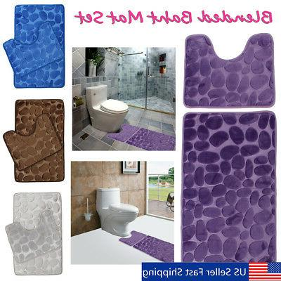 2Pcs Set Bath Non-Slip Mat Toilet Contour Cover Rug Bathroom