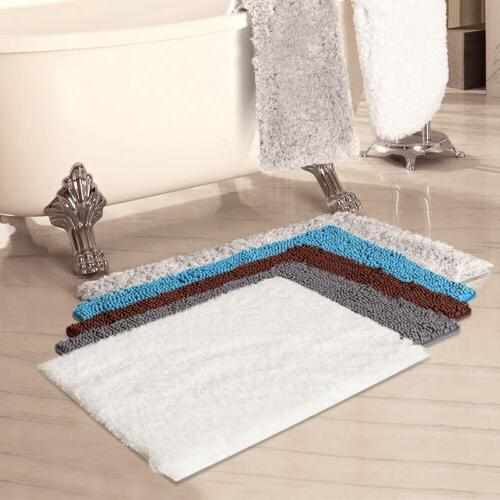2x Door Mat Rug Shaggy Shower Carpet