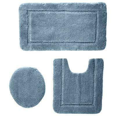 3 piece sculpted bath mat set light