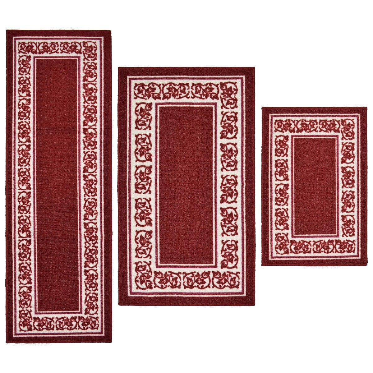 Throw Rugs 3 Piece Set Red Kitchen Bath Bedroom Area Floor M