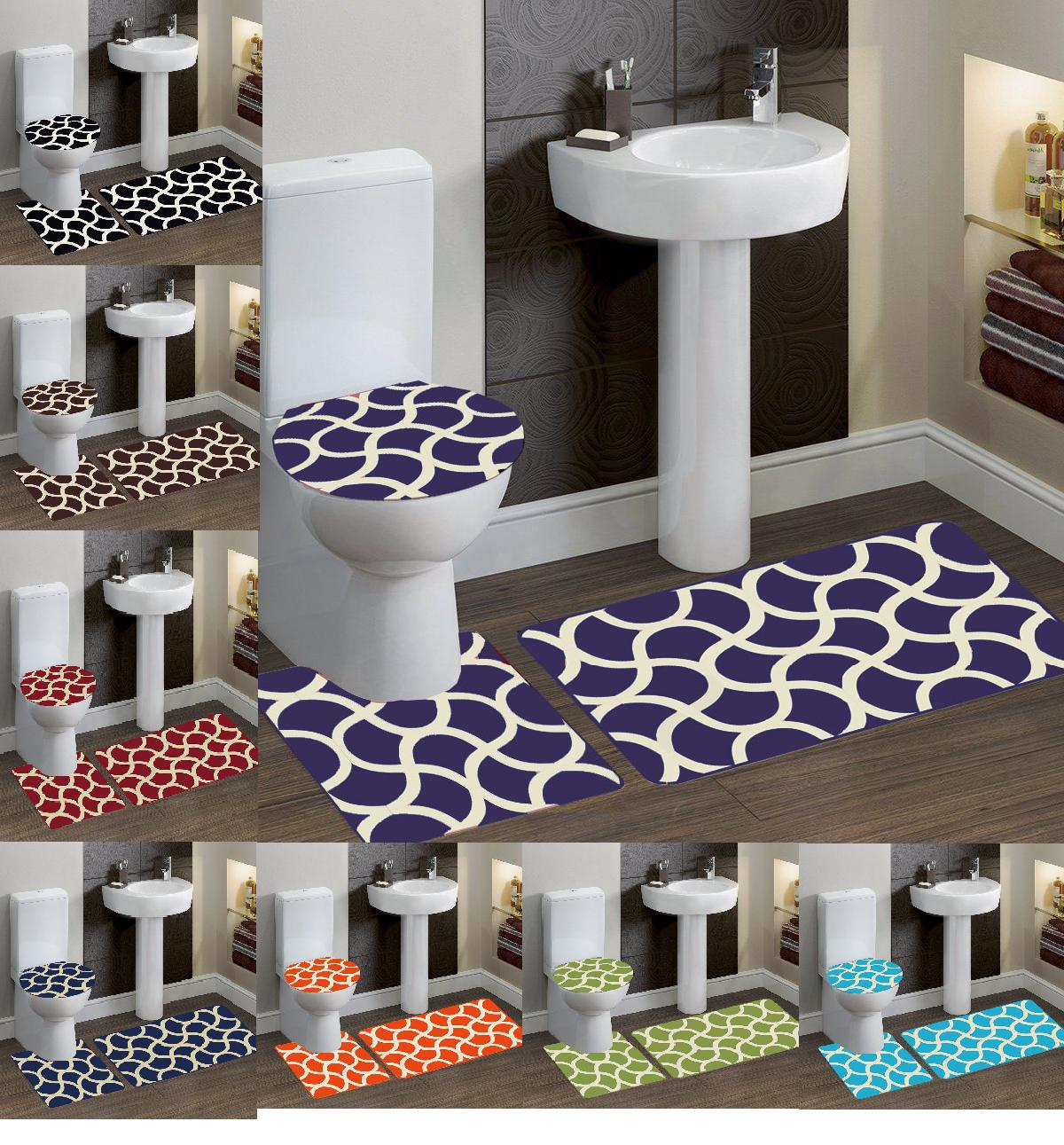 3-Piece Solid Bathroom Bath Mat Contour Rug Set with Toilet