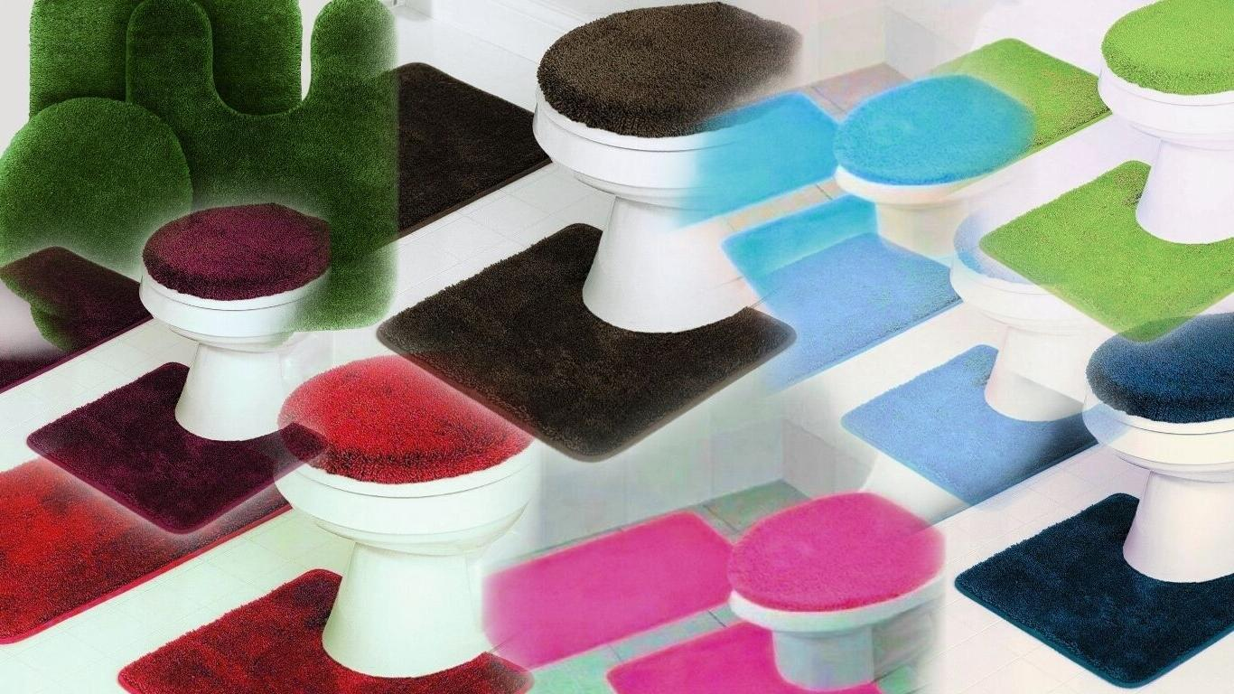 SOLID ASSORTED COLORS BATH RUG CONTOUR MAT TOILET LID COVER