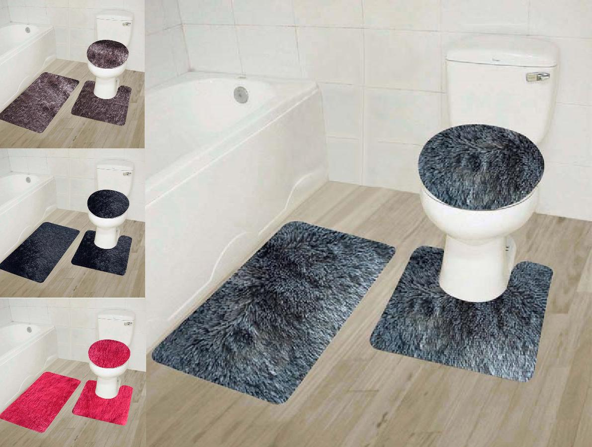 3pc 9 faux shaggy soft bathroom set