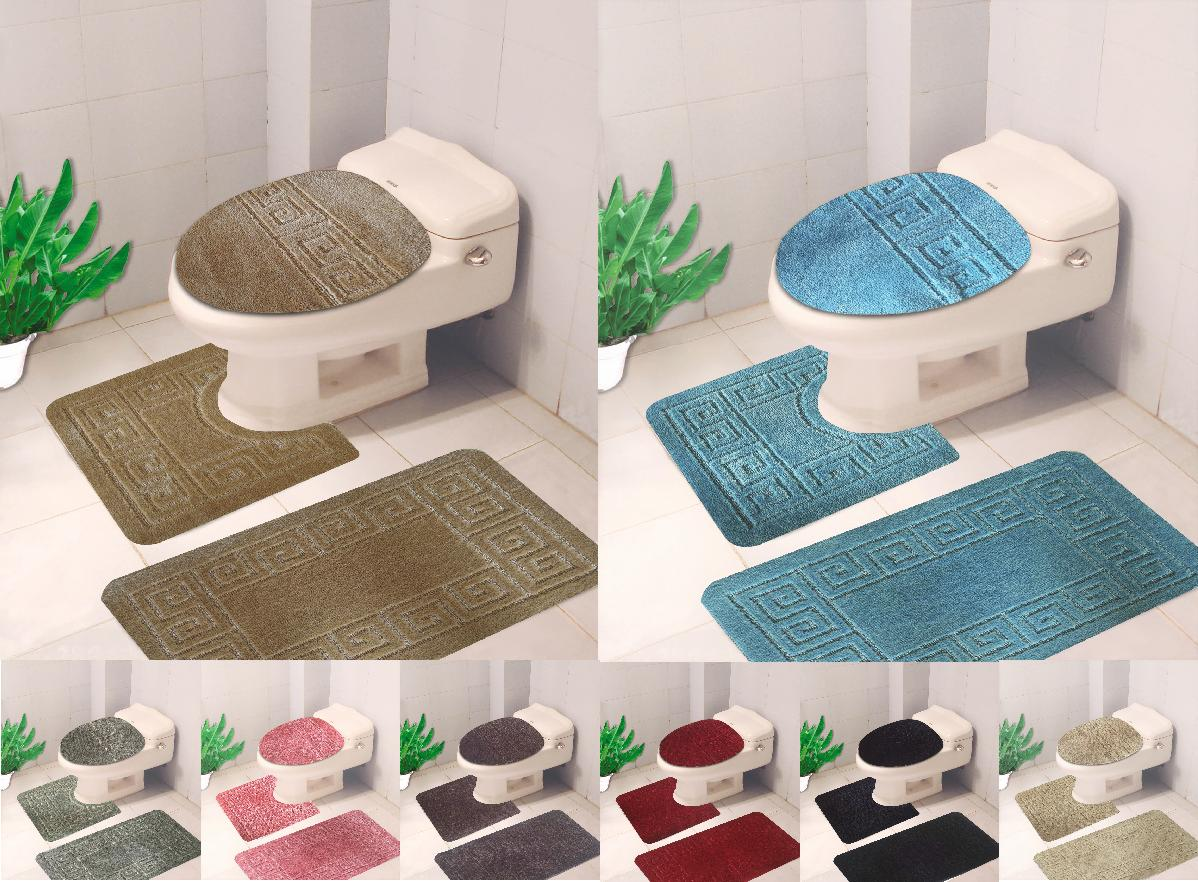 3PC SOFT BATHROOM SET MAT CONTOUR RUG TOILET NEW 3