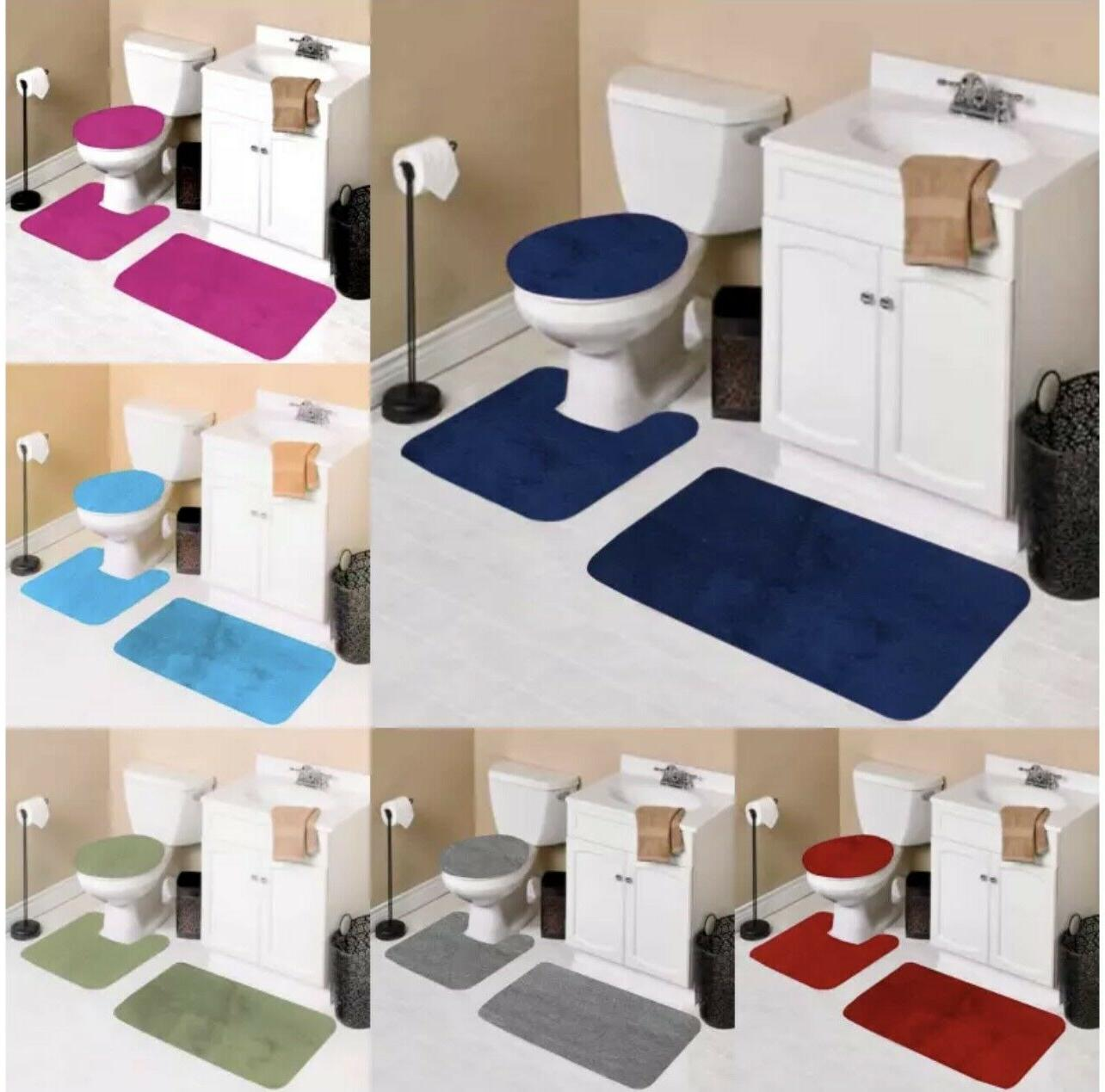3pc solid plain assorted colors bathroom rugs