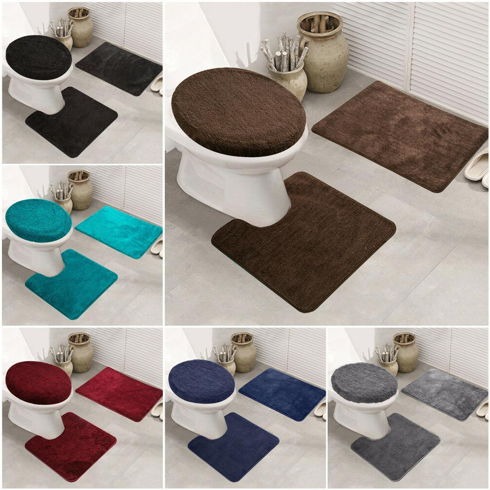3pcs/set Non-slip Bath Pedestal Mat Toilet Lid Carpet Bathro