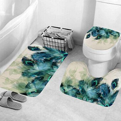 4Pcs/Set Anti-Slip Bathroom Toilet Rug+Lid Toilet Cover+Bath Curtain