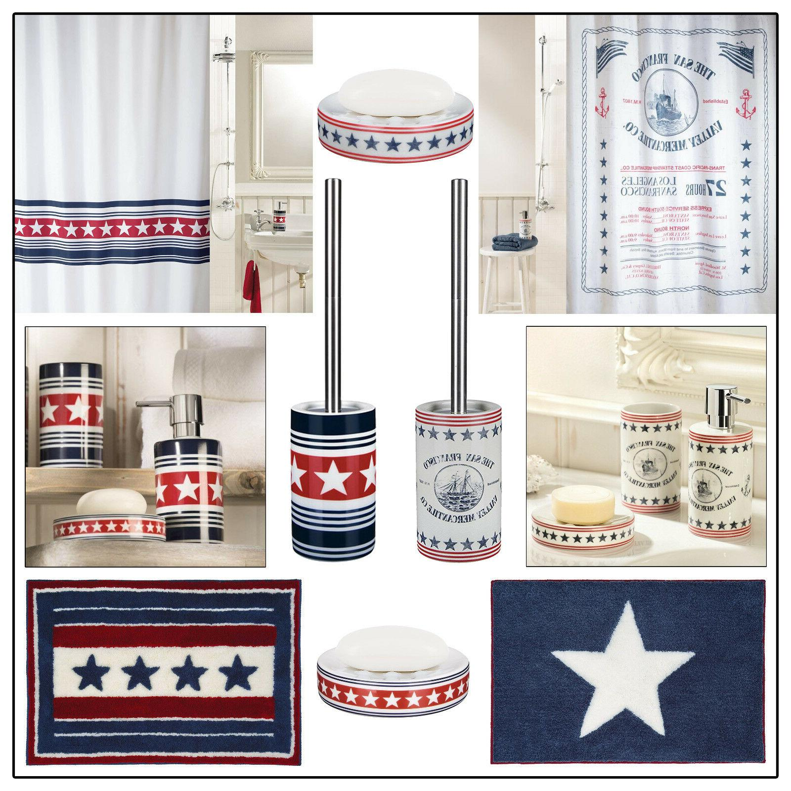 6 pc bathroom accesssory set red blue