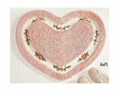 Pretty Pink Floral Rose Heart Shape Bath Accent Rug Floor Ma