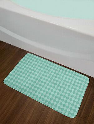 Aqua Bath Mat Geometric Non-Slip Plush Mat, Inches