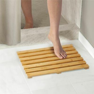 mDesign Bamboo Bath Mat Wide, 2 Pack Natural Wood