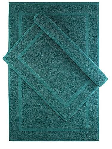 Cotton Craft Pack Bath - Teal - 100% Cotton Mat 21x34 - Oversized 21x34 Weight - 2 Ply Construction Highly Absorbent Underfoot Easy Machine