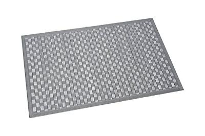 bath mat bamboo checkerboard washed grey