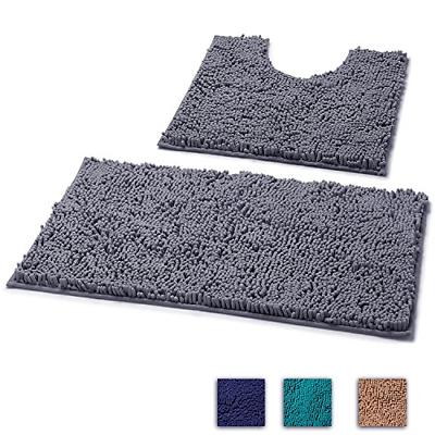 LuxUrux 2 Piece Bath Mat Set -Extra-Soft Plush Bath Shower B