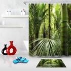 Bath Mat Shower Curtain Polyester Tropical Jungle Plants Wat
