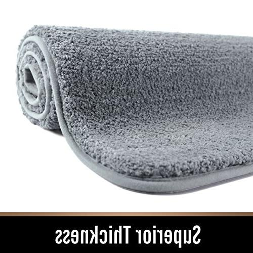 MAYSHINE for Bathroom Soft, Absorbent, Densely Woven Shaggy D8 Microfiber,Machine-Washable, Doormats,Tub, Gray